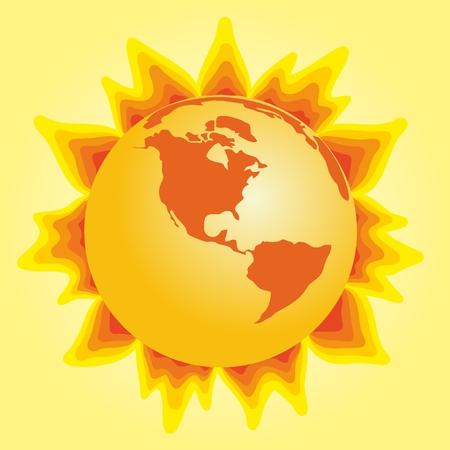 bright: Bright hot sun. Illustration