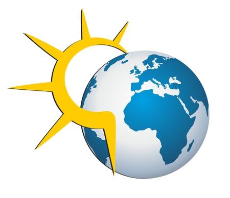 planetarium: Logo sun and earth. Illustration
