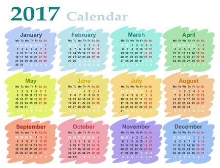working week: Calendar for 2017.