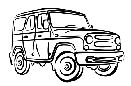 increased: sketch of car of increased passability. Illustration