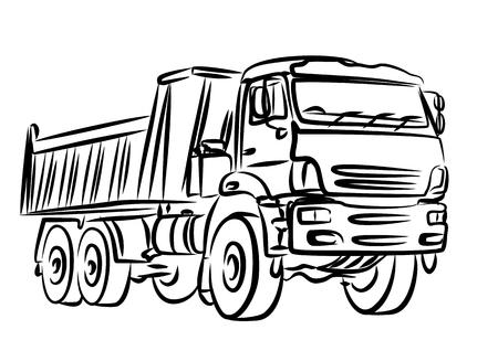 Croquis du lourd camion à benne. Banque d'images - 53221347