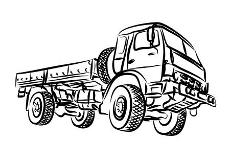 long distance: Sketch of heavy truck.
