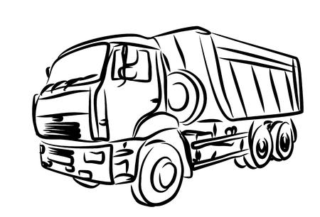 long distance: Sketch of heavy dump truck.