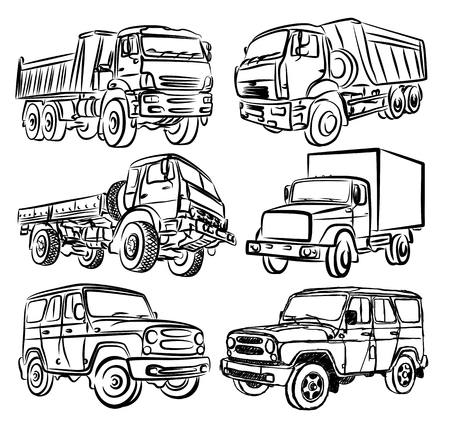 Sketches of trucks and SUVs. Illustration