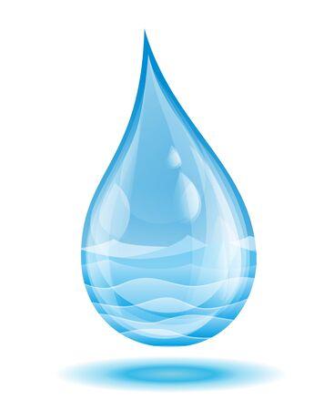 sea water: A sea landscape in water drop. Illustration