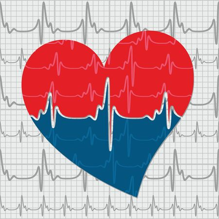 cardiogram: Heart with cardiogram. Illustration
