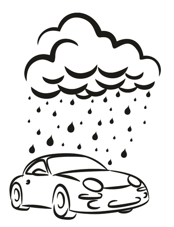 lavado: Un lavado de coche de la insignia con la nube de lluvia.