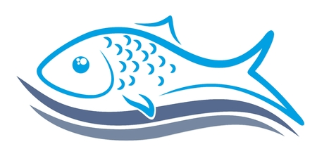 A logo of sea fish with blue wave.