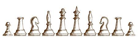 chessmen: Drawing of chessmen. Illustration