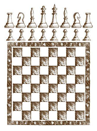 tablero de ajedrez: Dibujo tablero de ajedrez con figuras.