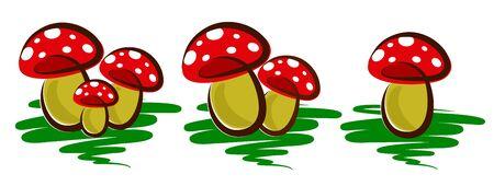 agaric: Logos of forest mushrooms. Illustration