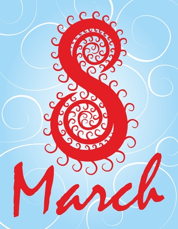 march 8: A greeting card by March 8. Stock Photo