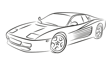 hyper: Sketch of the powerful sports car. Stock Photo