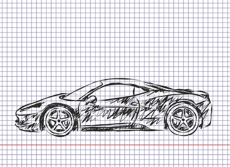 hyper: Sketch of powerful sports car.