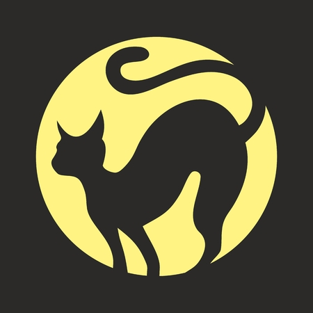 halloween black cat: A silhouette of black cat with full moon. Stock Photo