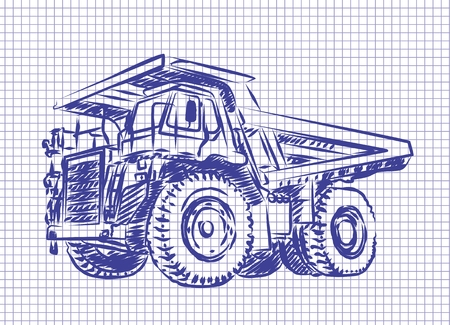 car leaf: Sketch of the heavy dump truck. Stock Photo