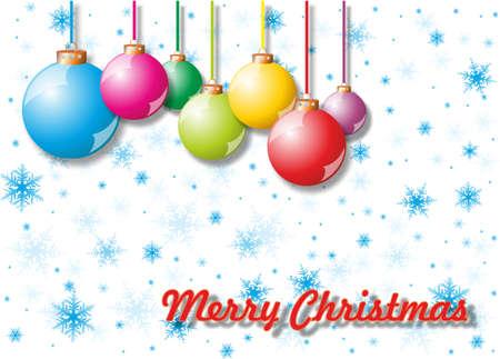 snowfalls: Greeting card with Christmas tree decorations. Stock Photo