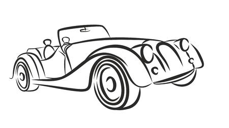 capacity: Car retro drawing.