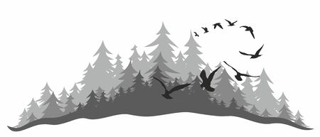 dense: Landscape with wood and birds.
