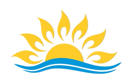 lake sunset: sun and sea. Illustration