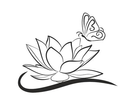 Lotus met vliegende vlinder.