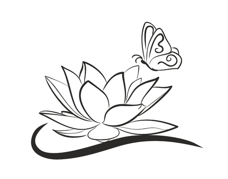 Lotus with flying butterfly.
