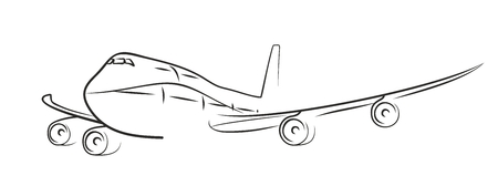 avia: sketch of flying plane. Stock Photo