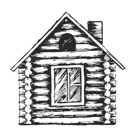 Drawing of wooden house. Ilustração