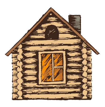 wooden house: Drawing of wooden house. Stock Photo