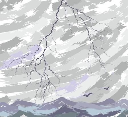sea landscape: Sea landscape with lightning. Illustration