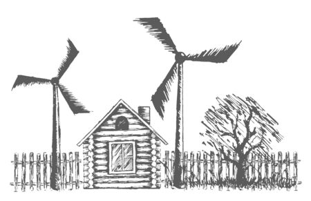 power plants: Drawing of wooden house with wind power plants.