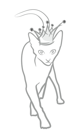 rown: Domestic cat in crown. Illustration