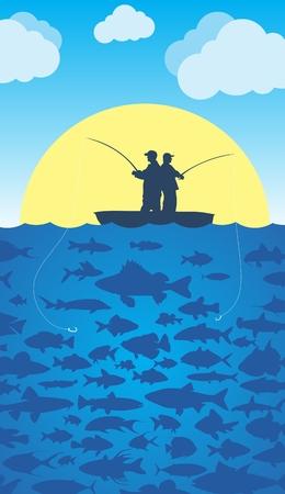 fisheries: Fishing in the sea.