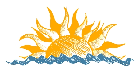 Drawing of sun and sea. Ilustração