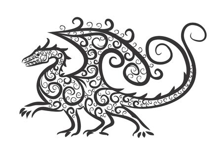 winged dragon: Drawing of winged dragon.