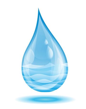 sea water: A sea landscape in water drop. Stock Photo