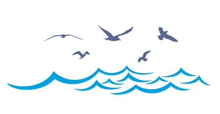 albatross: Sea landscape with seagulls. Illustration