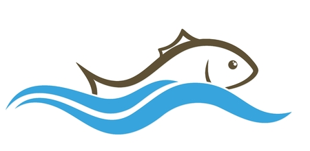 fisheries: Logo of fish with wave.