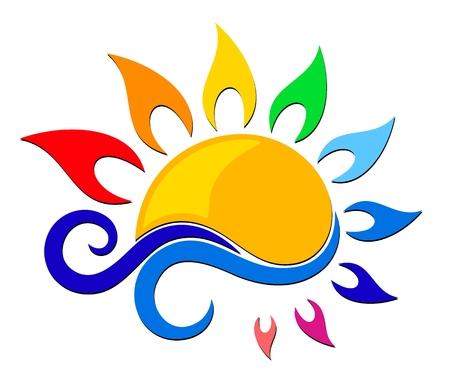 Logo di sole di colore con l'onda blu.
