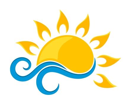 sun Logo with blue wave.