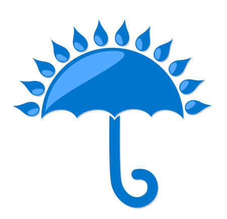personal accessory: umbrella  with rain. Illustration