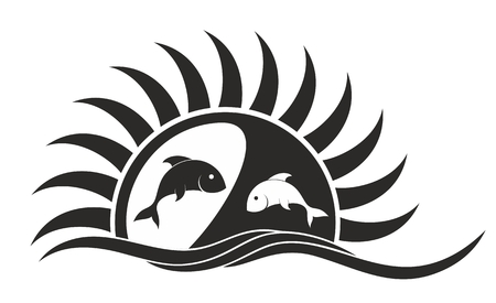 sunset lake: Logo of sun and sea with fishes.