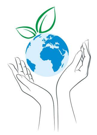 earth logo: earth Logo with female hands.