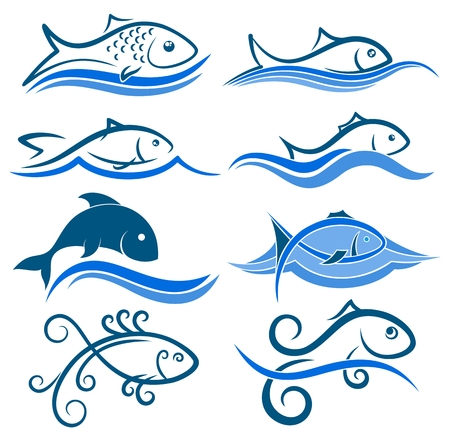 fisheries: Logos of fish with wave.