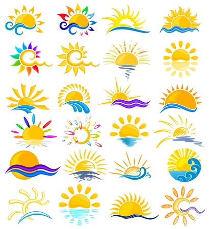horizon reflection: A set of logos with sun and sea. Illustration