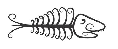fishery: Logo fish skeleton.