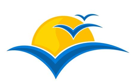 Logotipo de sol con las gaviotas. Foto de archivo - 55946369