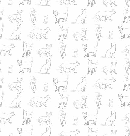thoroughbred: Seamless background with cats. Illustration