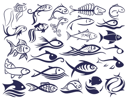 Set di loghi pesci.