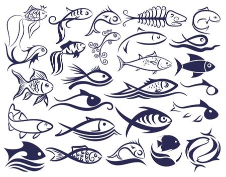 Set Zeichen Fische. Standard-Bild - 55946348